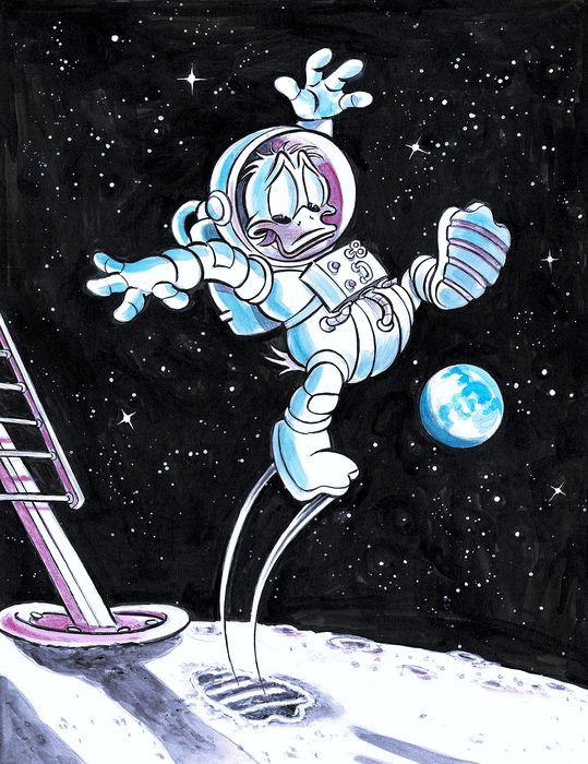 "Donald Duck inspired by Neil Amstrong ""First Step on The Moon"" - Original Painting - Tony Fernandez - Acrylic Art"