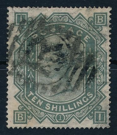 Groot-Brittannië - Engeland 1878 - Queen Victoria - 10 shillings, green-gray, with Maltese Cross watermark Stanley Gibbons 128