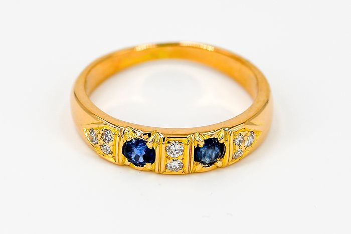 18 kts. Yellow gold - Ring Diamond - Sapphire