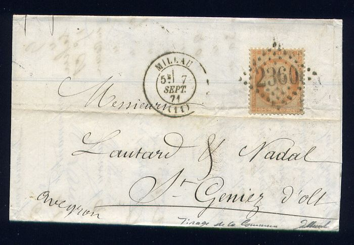 Frankrijk 1871 - Rare letter from Millau to Saint-Geniez-d'Olt with a No. 38 - print of the Commune