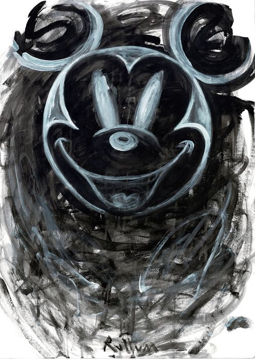 Mickey Mouse in Negative - Original Street Art Painting - Ruttum - Acrylic Art