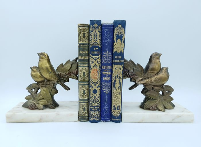 Pair of bird-shaped bookends - Art Deco - Spelter, Marble
