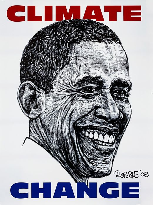 Robbie Conal - 'Climate Change' (Obama)
