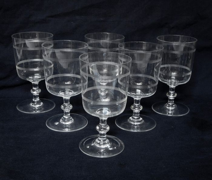 """Baccarat - 6 water glasses model """"nets foot button"""" - Crystal"""