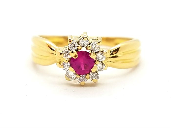 18 kts. Yellow gold - Ring Diamond - Ruby