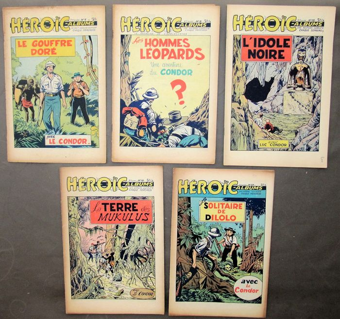 Heroic (FR) - 1-5-13-19-27-31-48- (1953), 33- (1954), 5-15-19-27-35-51-(1955), 11 (1956)) - Stapled - First edition - (1953/1956)