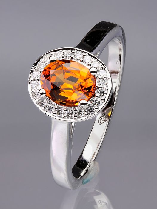 18 kt. Gold - Ring - 1.14 ct Mandarin Garnet - Diamond