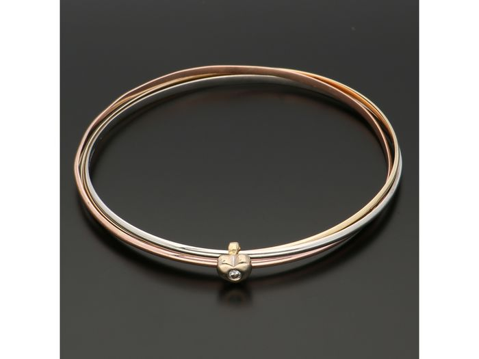 14 kt. Gold, Tricolour - Bracelet - 0.04 ct Diamond