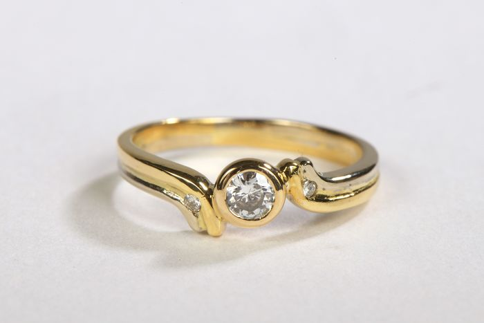 18 kts. Yellow gold - Ring Diamond - Diamond