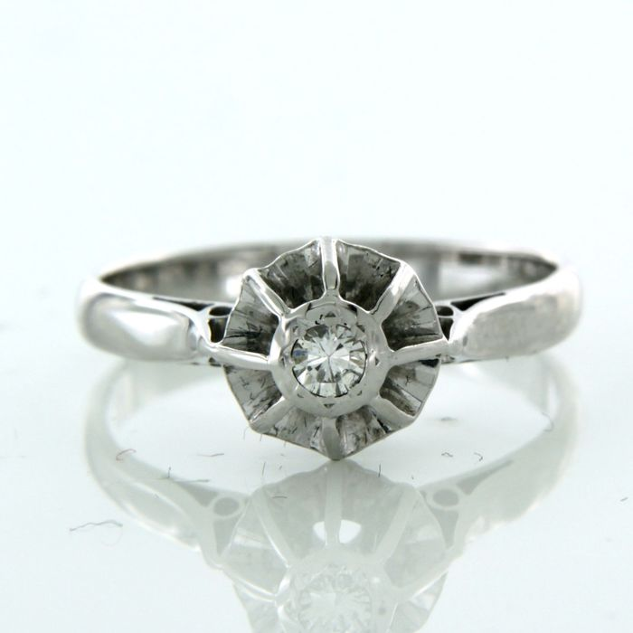 18 kt. White gold - Ring - 0.10 ct Diamond