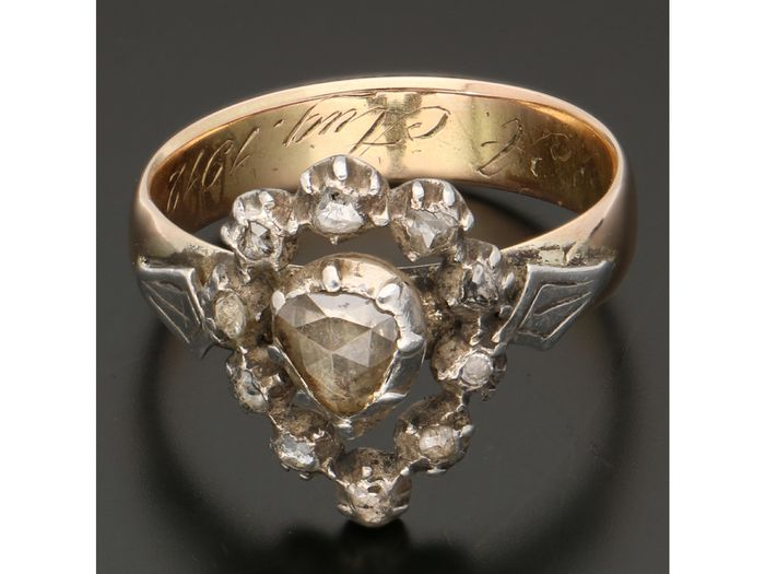 14 karat gold, silver - ring - 0.30 ct diamond