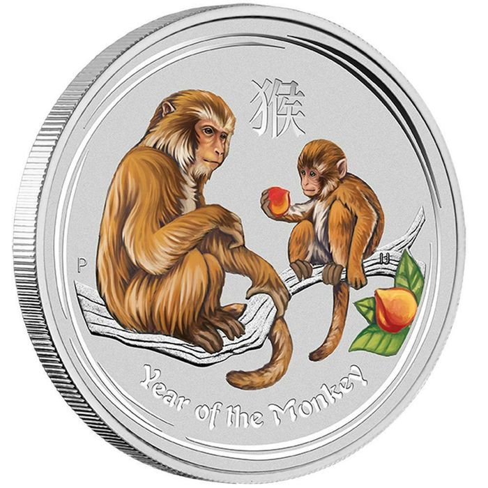 Australie - 1 Dollar 2016 Year of the Monkey - Colored 1 oz - Argent