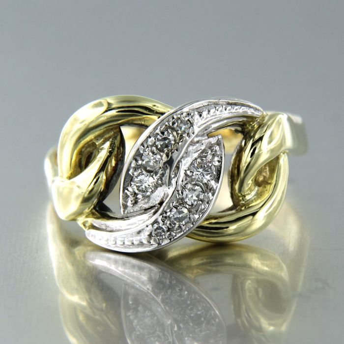 14 kt. White gold, Yellow gold - Ring - 0.13 ct Diamond