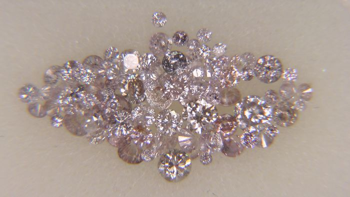 80 pcs Diamond - 1.01 ct - Round - Mix Pink   - I2, VVS1, No Reserve Price!