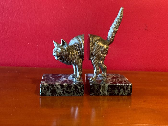 Pair of animal bookends - Cat model - Silvered bronze