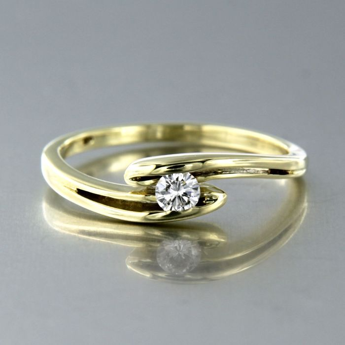14 kt. Yellow gold - Ring - 0.14 ct Diamond