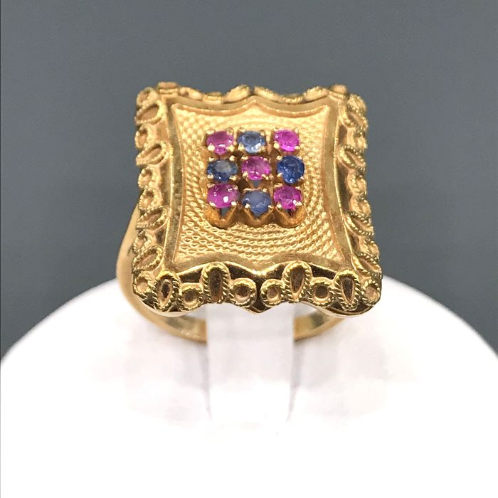 18 kt. Yellow gold - Ring Rubini - Sapphires