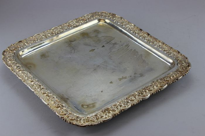 Antique rectangle tray - Silverplate - U.K. - Ca.1880's
