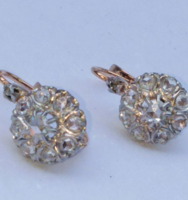 18 carats Or, Platine - Boucles d'oreilles Diamant - Diamants