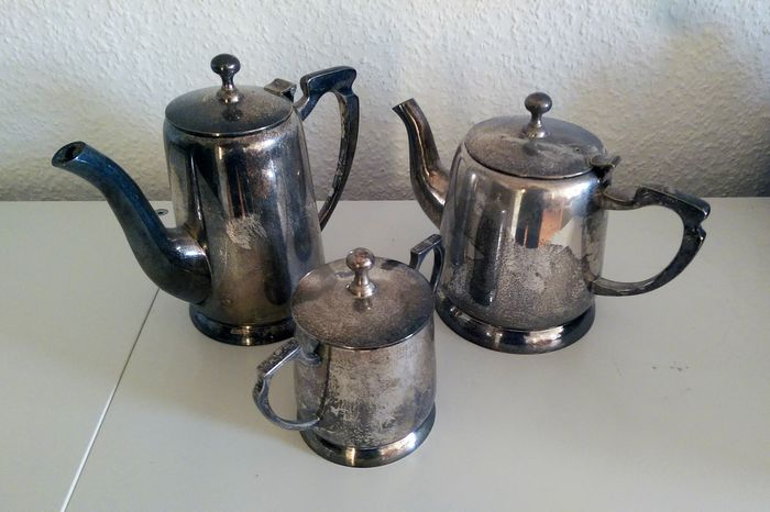 Teapot, Tea Service, Coffee and Tea Service (3) - Silver-Plated - Germany - Early 20th Century