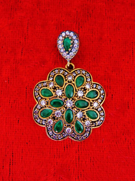 Russian pendant in 925 silver - bronze - green diopside from Russia
