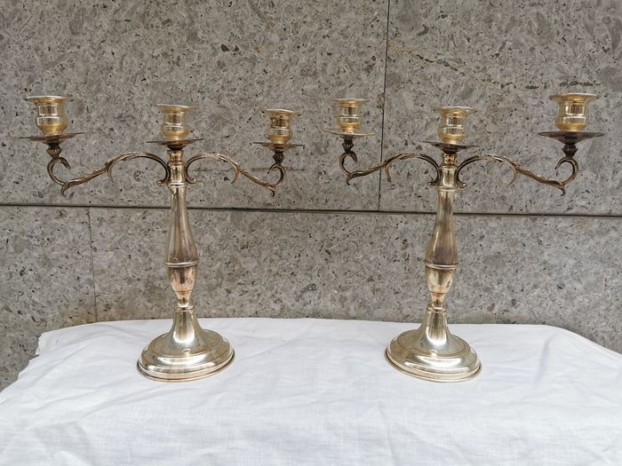 Candlestick, couple (2) - .800 silver - Italy - Second half 20th century