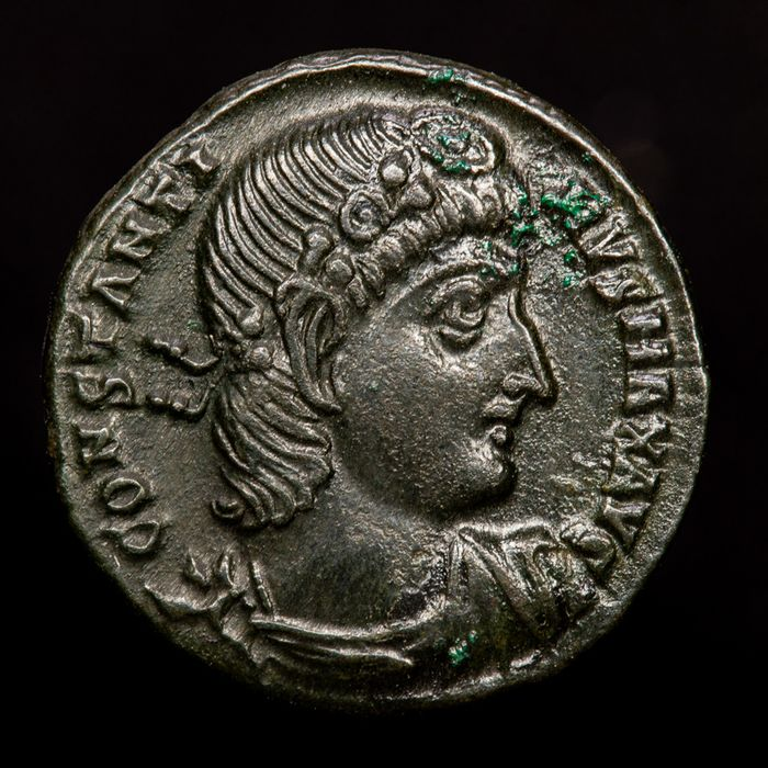 Imperio Romano - Half Follis - Constantine I (307-337 A.D.) Antioch - GLORIA EXERCITVS two soldiers, holding spear and shield. - Bronce