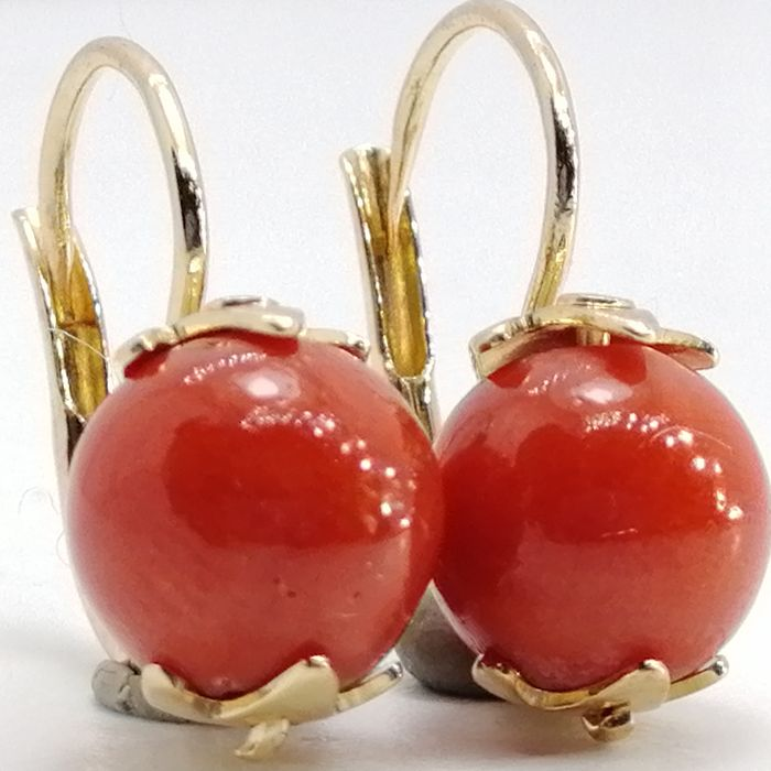 UnoAErre - 18 kt. Gold - Earrings red coral of the Mediterranean