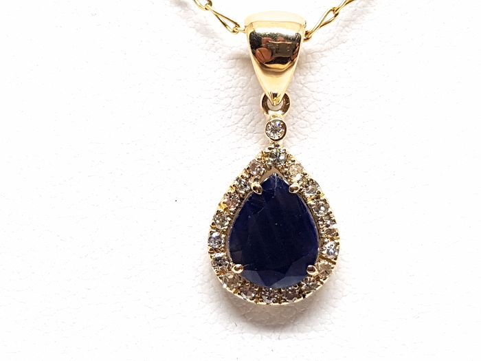 18 kt. Yellow gold - Necklace with pendant - 3.16 ct Sapphire - Diamond