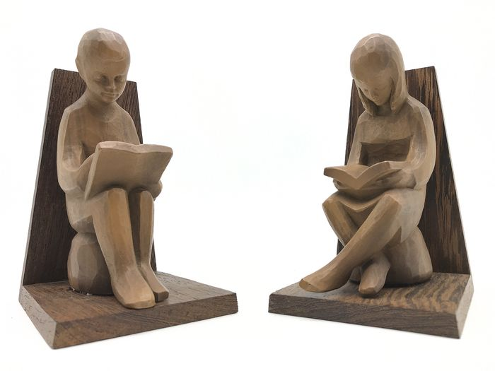 Set of two bookends in Art Deco style - Wood