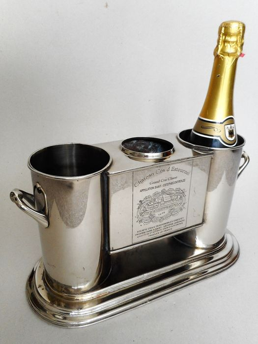 Champagne cooler / Wine cooler for two bottles - 'Chateau Cos d' Estournel ' (1) - Silverplate