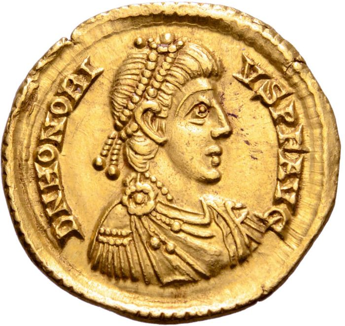 Empire romain - Solidus - Honorius (393-423 A.D.) Mediolanum - VICTORIA AVGGG / M - D / COMOB Emperor, foot on a captive. - Or