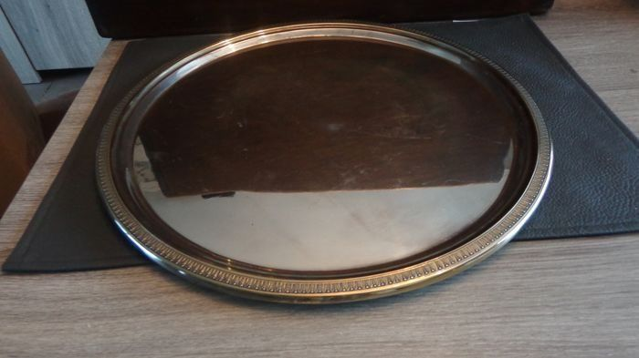large serving scale (1) - Silverplate - Wiskemann - Belgium - mid 20th century