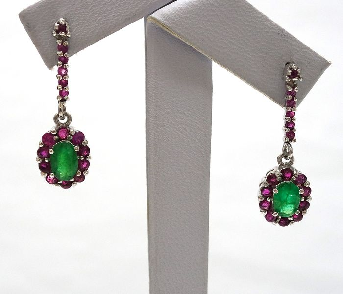 14 kt. White gold - Earrings - 0.95 ct Emerald - Ruby