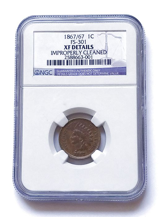 USA - Cent 1867 over 67 (Indian Head) in NGC Slab