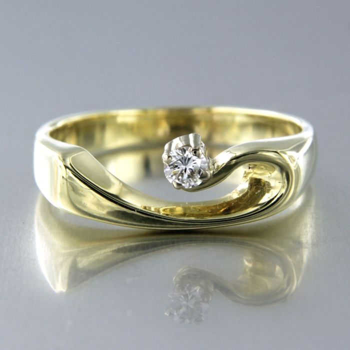 14 kt. Yellow gold - Ring - 0.12 ct Diamond