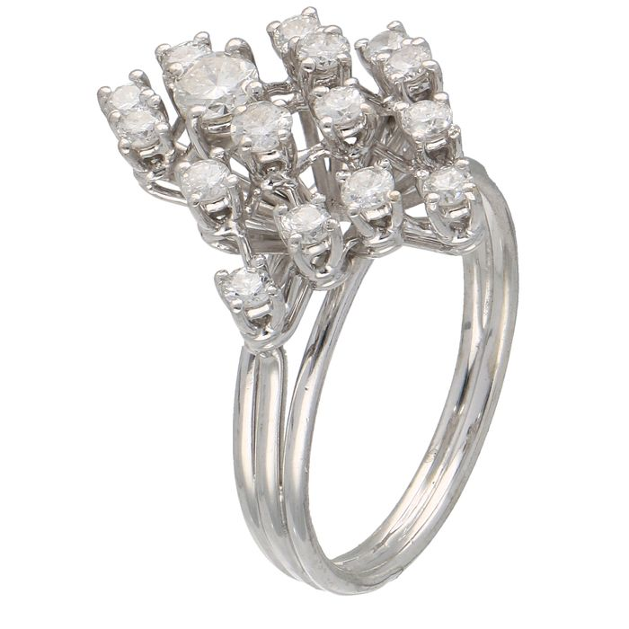 18 quilates Oro blanco - Anillo - 0.78 ct Diamante