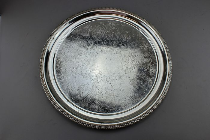 Antique round tray - Silver plated - U.K. - Ca.1920's