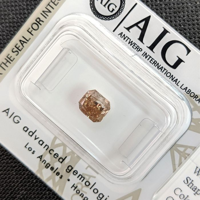 Diamond - 1.09 ct - Ράντιαν - fancy orangy brown - I1, No Reserve Price
