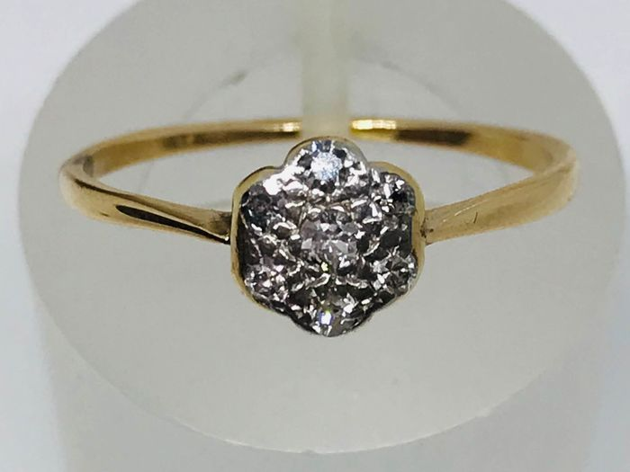 18 kt. Yellow gold - Art Deco Diamond Ring in 18kt gold Diamond