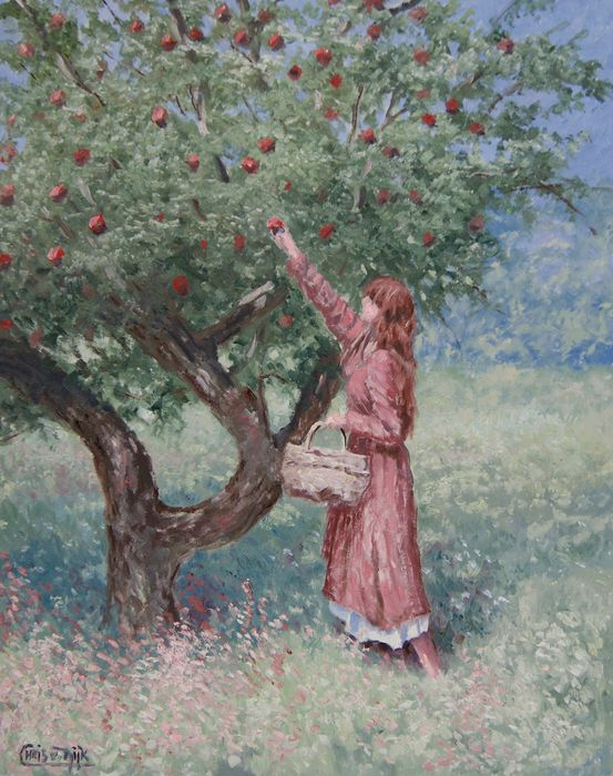 "Chris van Dijk (1952) -  """" Girl picking apples from the tree"""""