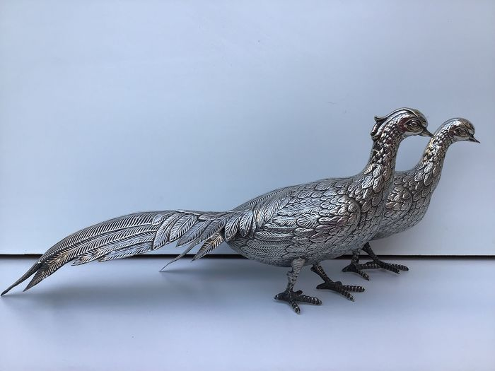Pheasants couple - table decoration - .915 silver - Spain - mid 20th century