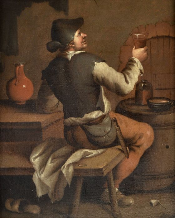 Follower of Teniers the Younger (17/18th Century) - A man drinking in a tavern interior.