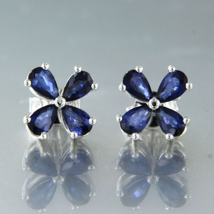 18 kt. White gold - Earrings - 1.90 ct Sapphire