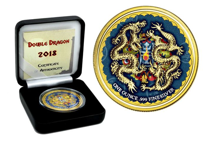 Niue - 2 Dollar 2018 Double Dragon mit Gold und Color Box CoA - 1 Oz - Silver