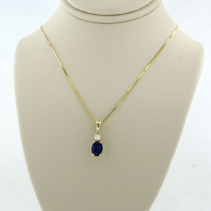 14 kt. Yellow gold - Necklace with pendant - 0.07 ct Diamond - Sapphire