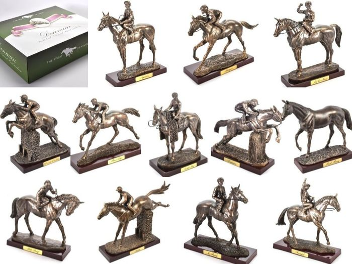 "Poppetje(s), ""Sport of Kings Collection"", Legendarische Race Horses, (12) - Hars/polyester"