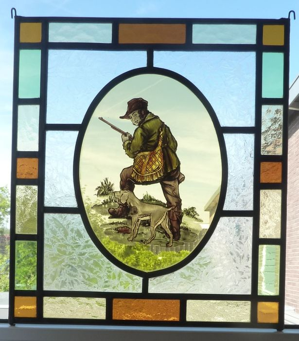 """hunter with dog"" window hanger - Stained glass"