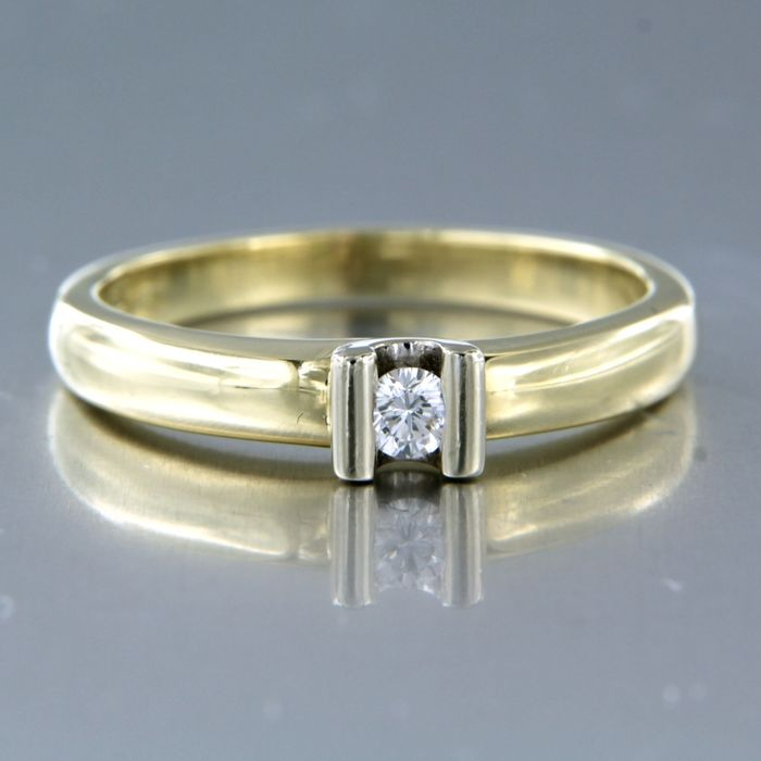 14 quilates Oro amarillo, Oro blanco - Anillo - 0.10 ct Diamante