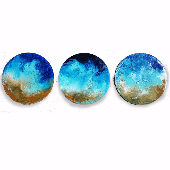 Ksavera - seashore Abstract A401 - round triptych